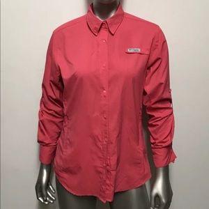 Pink Columbia button up fishing shirt size small